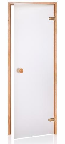 Saunové dveře BASIC s pískovaným sklem 9x19 CLEAR (čiré sklo, borovice)