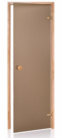 Saunové dveře BASIC s pískovaným sklem 8x20 BRONZE (kouřové sklo, borovice)