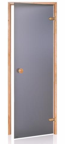 Saunové dveře BASIC s pískovaným sklem 9x19 GRAY (kouřové sklo, borovice)