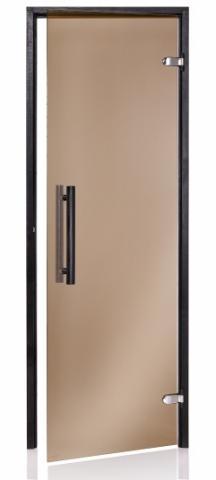 Saunové dveře BLACK 8x21 BRONZE (kouřové sklo)