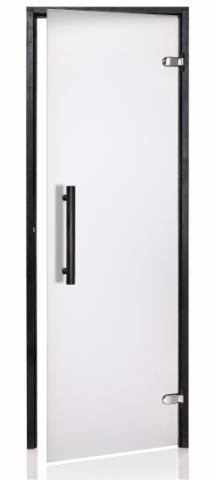 Saunové dveře BLACK s pískovaným sklem 8x21 CLEAR (čiré sklo)