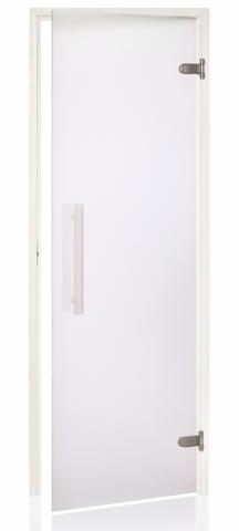 Saunové dveře WHITE s pískovaným sklem 8x21 CLEAR (čiré sklo)