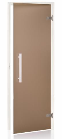 Saunové dveře WHITE s pískovaným sklem 8x21 BRONZE (kouřové sklo)