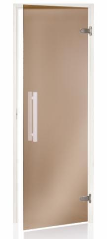 Saunové dveře WHITE 8x21 BRONZE (kouřové sklo)