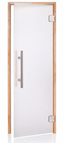Saunové dveře PREMIUM s pískovaným sklem 8x19 CLEAR (čiré sklo, olše)