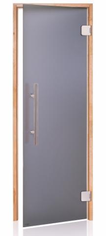 Saunové dveře PREMIUM s pískovým sklem 8x19 GRAY (kouřové sklo, olše)