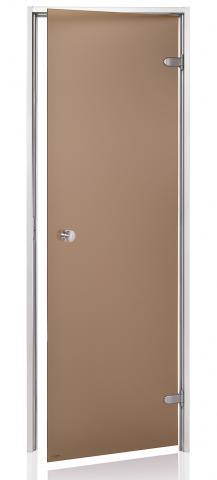 Dveře do páry BASIC s pískovaným sklem 7x20 BRONZE (kouřové sklo)