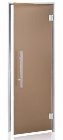 Parní dveře PREMIUM s pískovaným sklem 9x20 BRONZE (kouřové sklo, hliník)