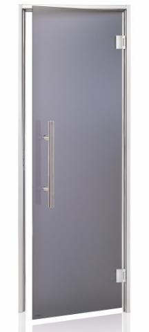 Parní dveře PREMIUM s pískovaným sklem 8x20 GRAY (kouřové sklo, hliník)