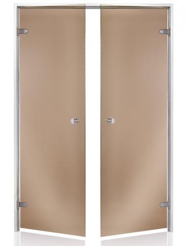 Parní dveře DOUBLE 17x19 BRONZE (kouřové sklo, hliník)