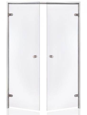 Parní dveře DOUBLE 17x19 CLEAR (čiré sklo, hliník)