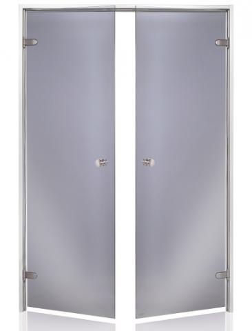 Parní dveře DOUBLE 17x21 GRAY (kouřové sklo, hliník)