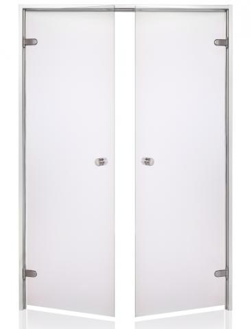 Parní dveře DOUBLE s pískovaným sklem 13x19 CLEAR (čiré sklo, hliník)