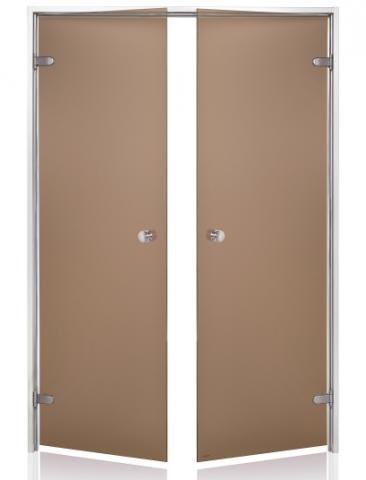Parní dveře DOUBLE s pískovaným sklem 15x21 BRONZE (kouřové sklo, hliník)