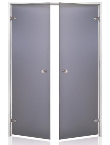 Parní dveře DOUBLE s pískovaným sklem 13x19 GRAY (kouřové sklo, hliník)