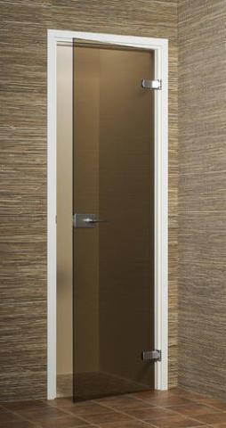 Dveře skleněné, BRONZE s rámem, panty a madlem